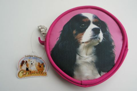 TRI COLOUR CAVALIER  DOG COIN PURSE IDEAL GIFT FOR SPANIEL OWNERS